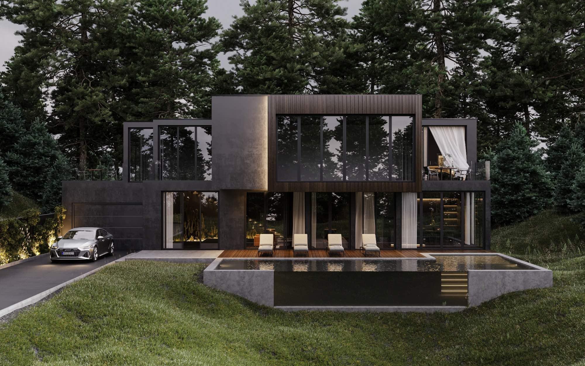 Дом в лесу черный